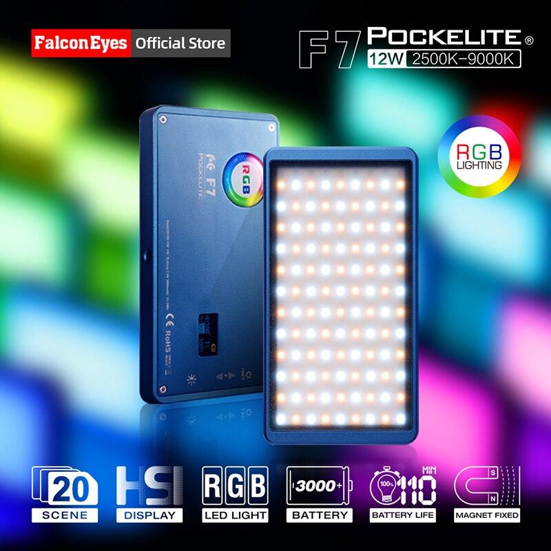 Falcon Eyes 12W Mini Pocket RGB LED Light On Camera Portable For Video/Studio/Youtube/Vlog Photography Lighting Fill Lamp F7